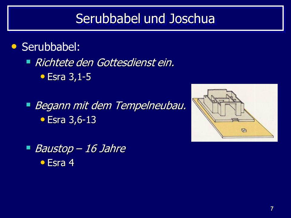 8 Serubbabel und Joschua Serubbabel: Weiterbau am Tempel Weiterbau am Tempel Haggai und Sacharja ermutigten.