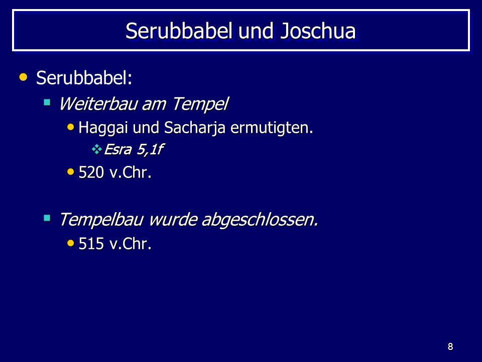 9 Der Tempelbau - Zeitplan Kyros II.(559 – 530 v.Chr.) 539 v.Chr.