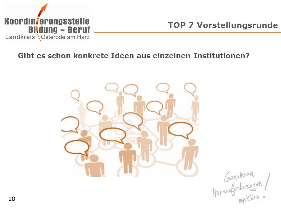 TOP 8 Organisatorisches 11 Turnus Wochentag Dauer Fragen & Anregungen