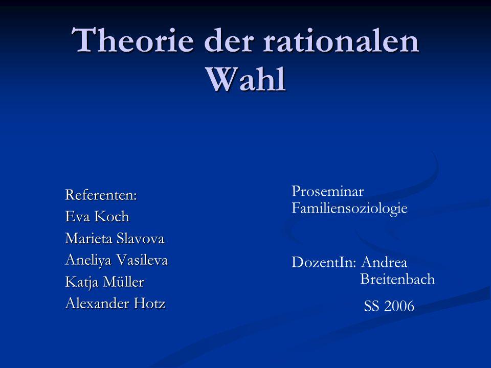 Das rational-choice-Modell gemeinsamer Kern der Austauschtheorie und der ökonomischen Theorie gemeinsamer Kern der Austauschtheorie und der ökonomischen Theorie unterstellt einen subjektiv rational handelnden Akteur, der bei gegebenen Präferenzen in sozial vorgegebenen Situationen seinen Nutzen maximiert unterstellt einen subjektiv rational handelnden Akteur, der bei gegebenen Präferenzen in sozial vorgegebenen Situationen seinen Nutzen maximiert