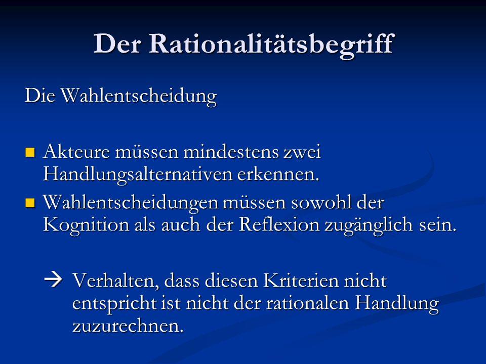 Der Rationalitätsbegriff Weiteres Kriterium der RC-Theorie: Handlungen müssen für Handelnden Sinn ergeben.