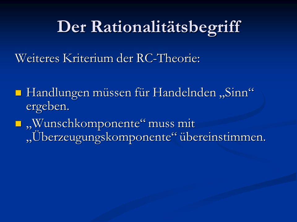 Der Rationalitätsbegriff Wunschkomponente: Wunschkomponente: Motivation zur Handlung.