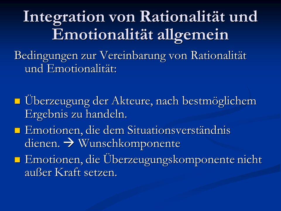 Integration von Rationalität und Emotionalität allgemein Drei logischen Formen von Rationalität und Emotionalität: 1.Emotionen ohne Einfluss auf die rationale Entscheidungsfindung.