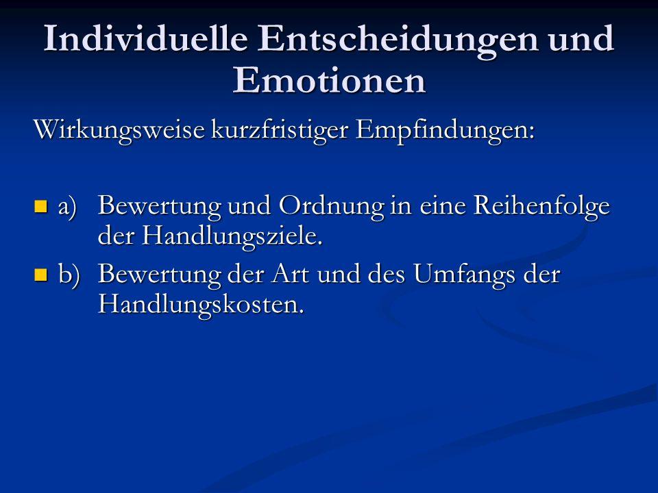 Individuelle Entscheidungen und Emotionen Verbesserung der Erklärungskraft der RC- Theorie durch die Integration von Emotionen bei der individuellen Entscheidungsfindung.