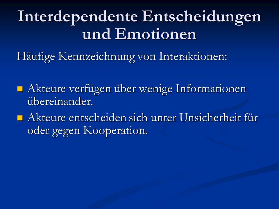 Interdependente Entscheidungen und Emotionen Informationen als Informationsäquivalent Emotionale Wahrnehmung als Entscheidungsunterstützung.