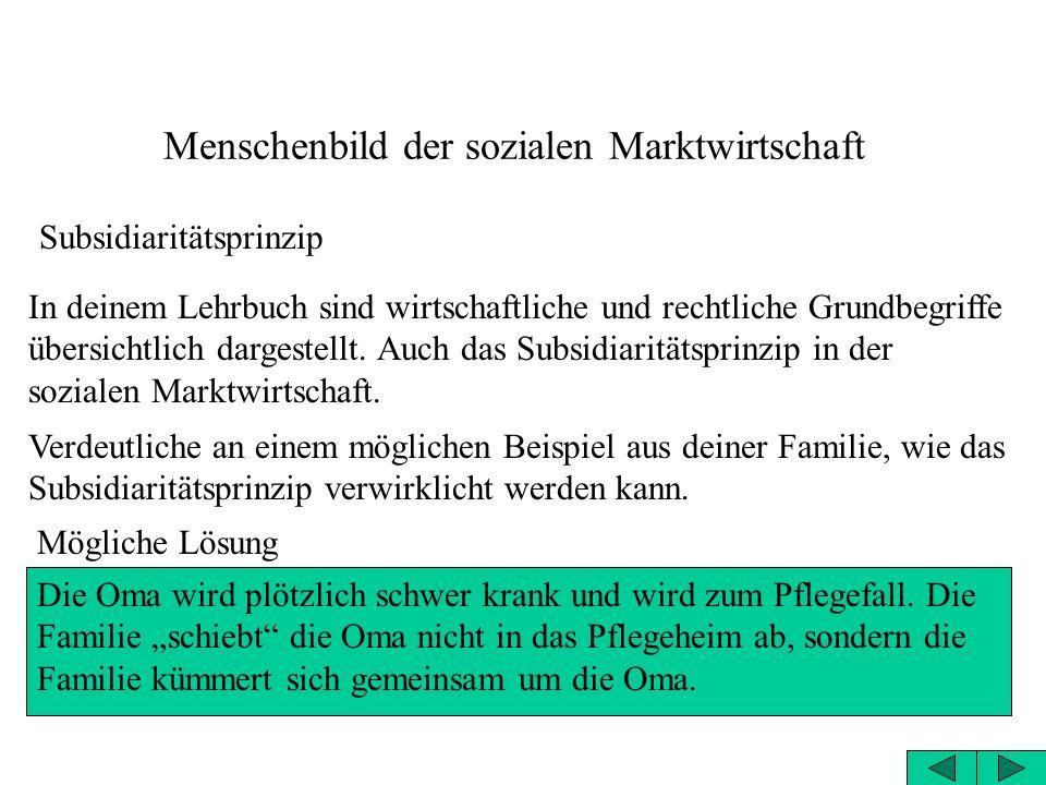 Menschenbild der sozialen Marktwirtschaft Subsidiaritätsprinzip In deinem Lehrbuch sind wirtschaftliche und rechtliche Grundbegriffe übersichtlich dargestellt.