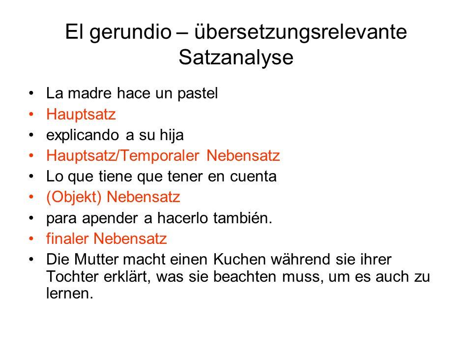 El gerundio – übersetzungsrelevante Satzanalyse Aun diciéndolo tú, Konzessiver Nebensatz no tiene que ser verdad.
