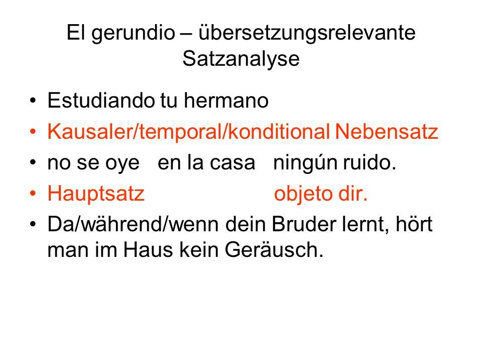 El gerundio – übersetzungsrelevante Satzanalyse No habiendo regresado sus padres, kausaler Nebensatz Pedro no podía salir.