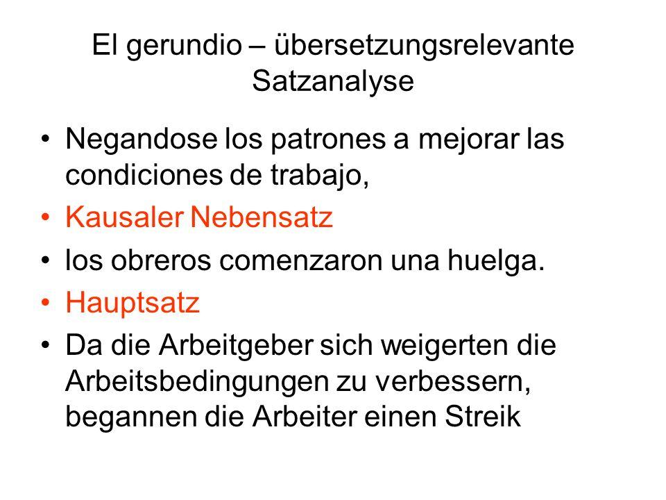 El gerundio – übersetzungsrelevante Satzanalyse Se puso a cortar el césped Hauptsatz Olvidandose de que tenía una cita.