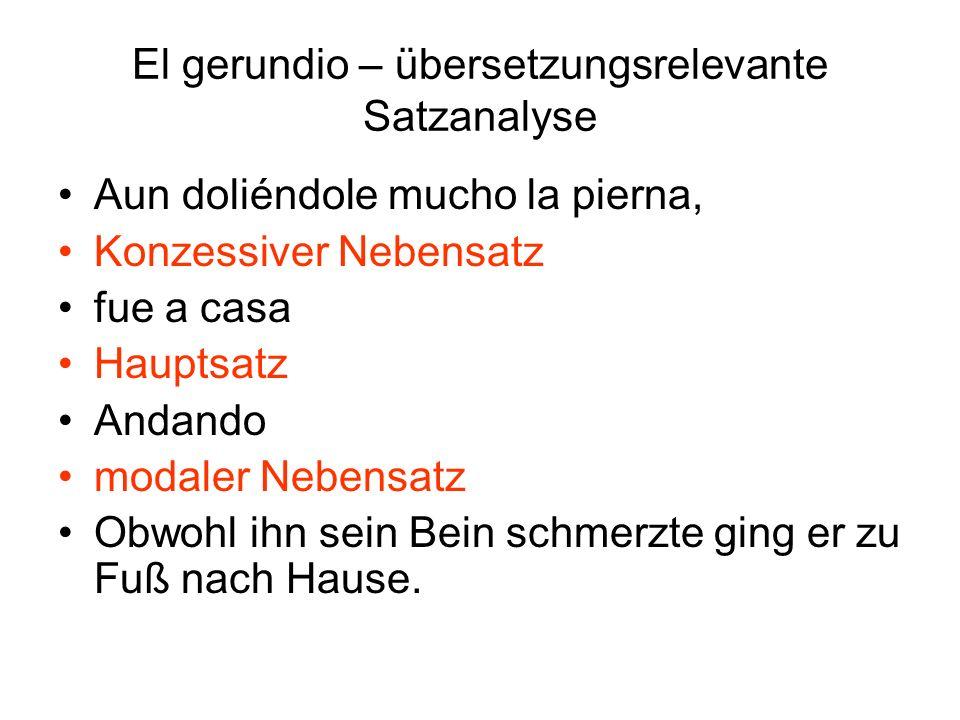 El gerundio – übersetzungsrelevante Satzanalyse Habiendo dado la bienvenida Temporaler adverbialer Nebensatz a los invitados objeto el proprietario les mostró Sujeto objeto dir.