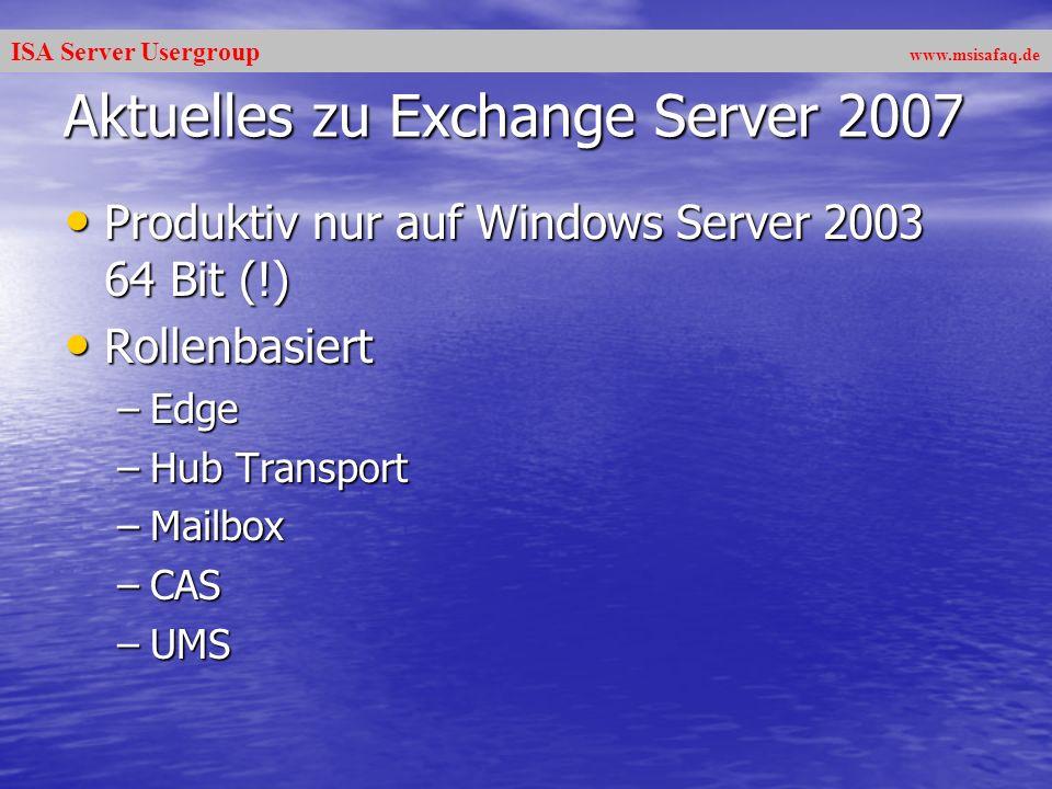 ISA Server Usergroup www.msisafaq.de Interessante KB Artikel –907747 - How to update the Intelligent Message Filter version 2 in Exchange Server 2003 SP2