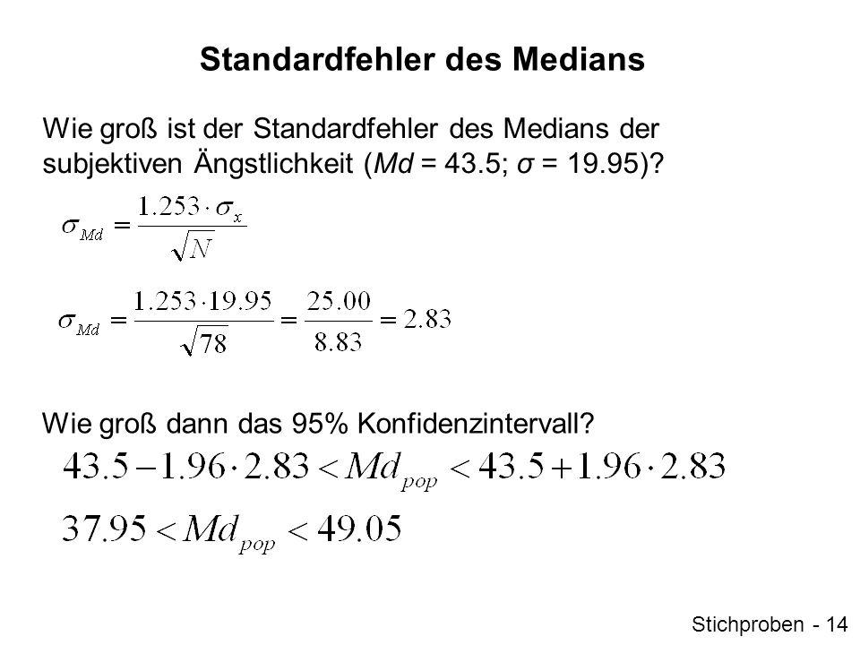 Standardfehler der Standardabweichung Wie groß ist der Standardfehler der Standardabweichung der subjektiven Ängstlichkeit (σ x = 19.95).
