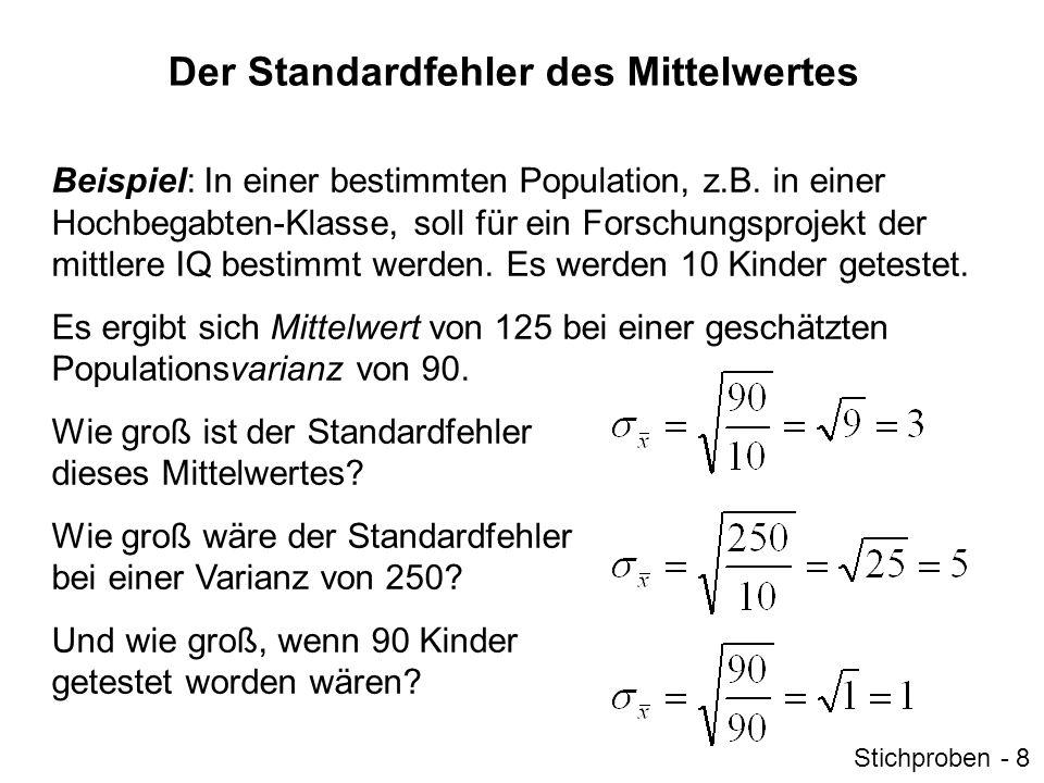 Interpretation des Standardfehlers Der Standardfehler ist die Standardabweichung der Stichprobenkennwerteverteilung.