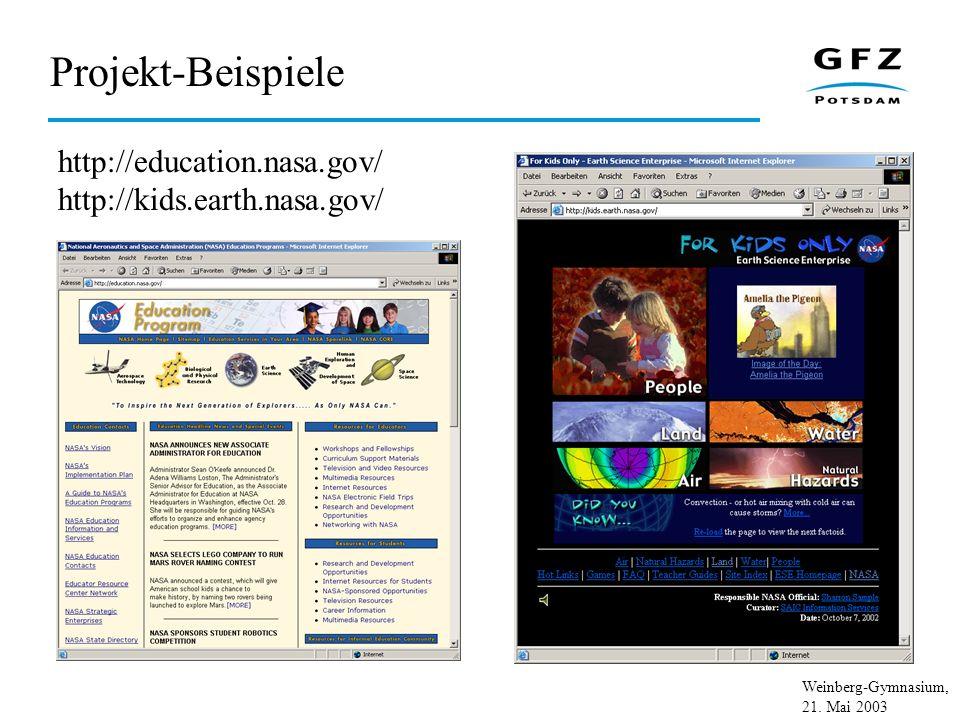 Weinberg-Gymnasium, 21.Mai 2003 Projekt-Partner – GFZ Data Center Vorstand Prof.