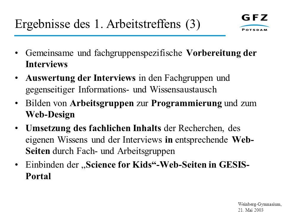 Weinberg-Gymnasium, 21.Mai 2003 Ergebnisse des 2.