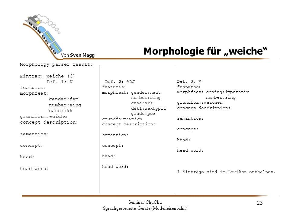 Von Sven Magg Seminar ChuChu Sprachgesteuerte Geräte (Modelleisenbahn) 24 Morphologie für schalten Morphology parser result: Eintrag: schalten (2) Def.