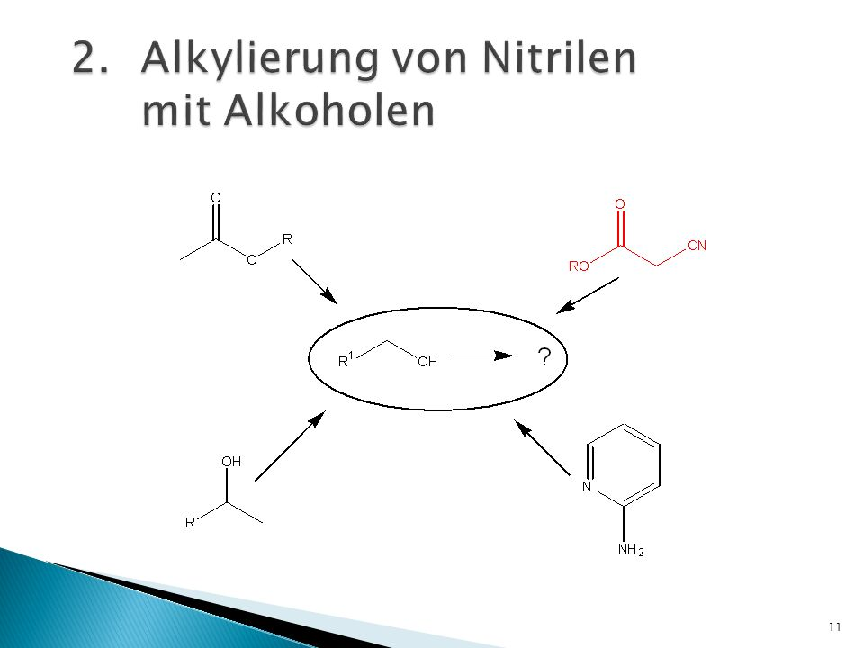 12 Alkylierungen von Cyanatestern mit benzyl- oder heteroarylsubstituierten Alkoholen Katalysator: Irdiumkomplex mit Chloratomen verknüpft R.Grigg, Tetrahedron, 2009, 65, 849–854