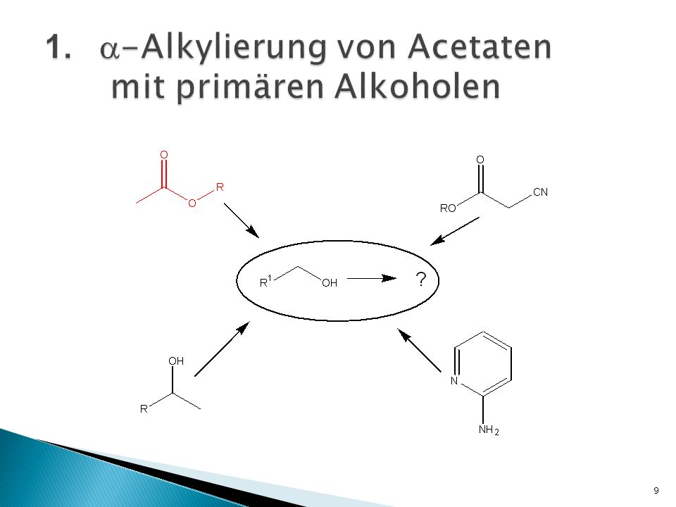 normalerweise: Kopplung Enolatanion mit Alkylhalogenid und Tosylat Problem: Bildung eines Litiumsalzes Lösung: -Alkylierung von tert-butyl Acetat mit primären Alkoholen mit [IrCl(cod)] 2 10 Y.Ishii, J.