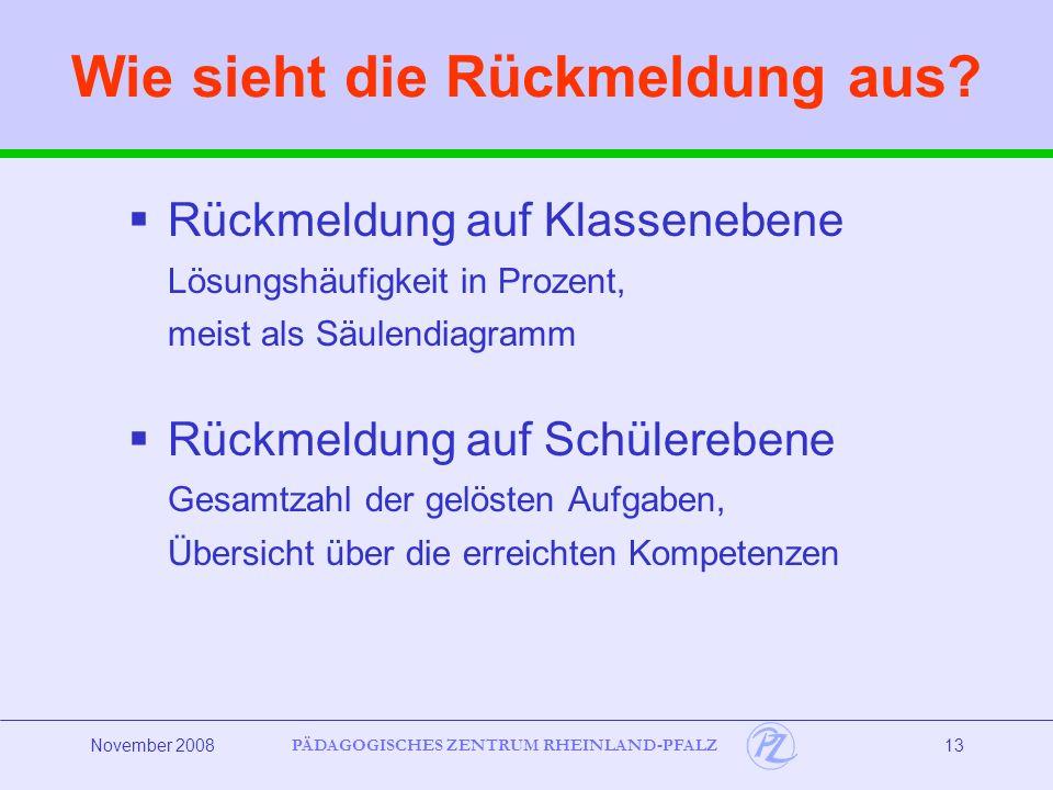 PÄDAGOGISCHES ZENTRUM RHEINLAND-PFALZ November 200814 Wozu nutze ich die Rückmeldung.