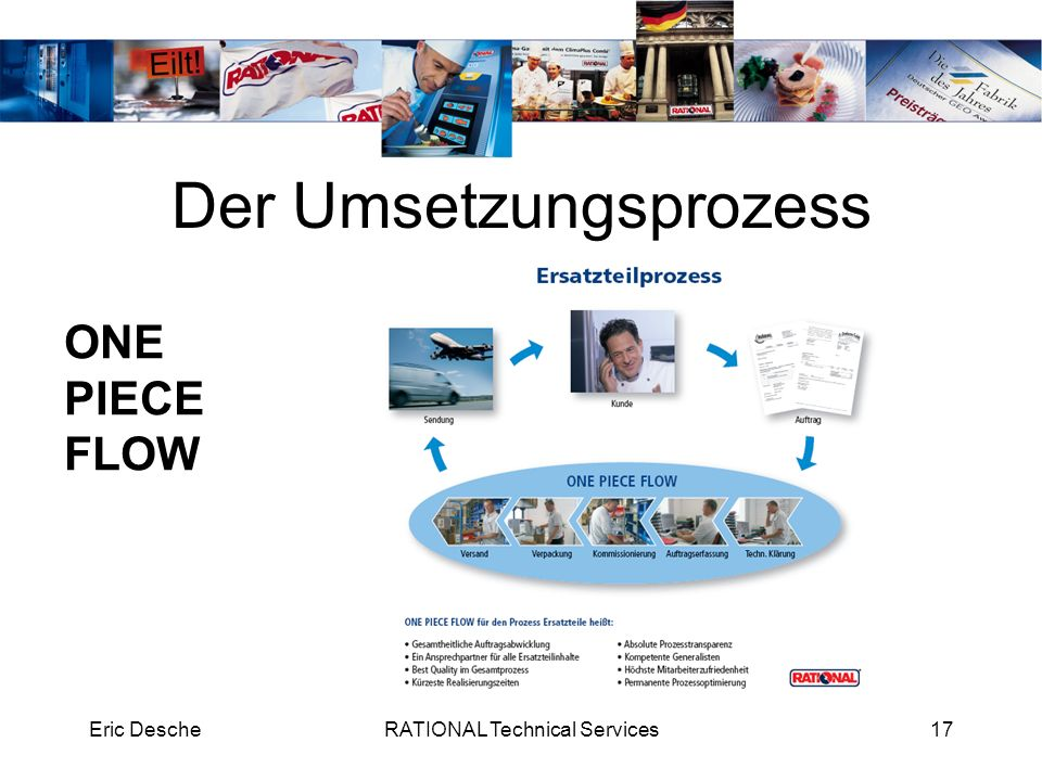 Eric DescheRATIONAL Technical Services18 Der Umsetzungsprozess ONE PIECE FLOW