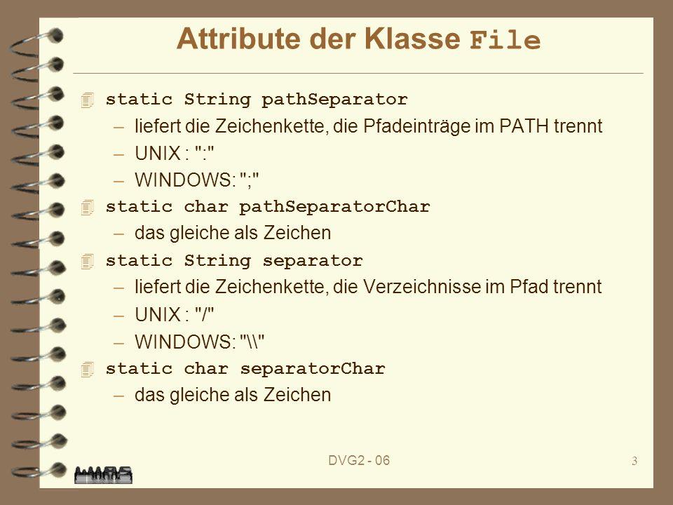 DVG2 - 064 Konstruktoren der Klasse File 4 File (String pathname) –erzeugt ein File -Objekt mit pathname als Pfad File (String parent, String child) –erzeugt ein File -Objekt mit einem Pfad child ggf.