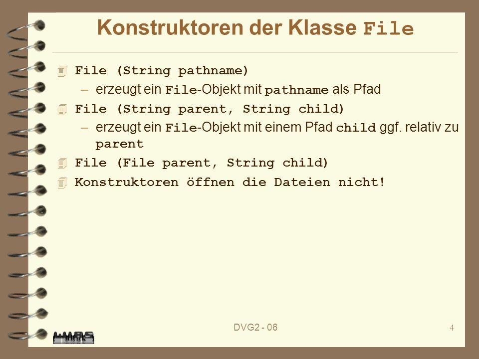 DVG2 - 065 Statische Methoden der Klasse File 4 static File createTempFile(String prefix, String suffix, File directory) 4 static File createTempFile(String prefix, String suffix) –erzeugen temporäres File mit dem Namen: prefix....suffix im Standard-Verzeichnis für temporäre Dateien bzw.
