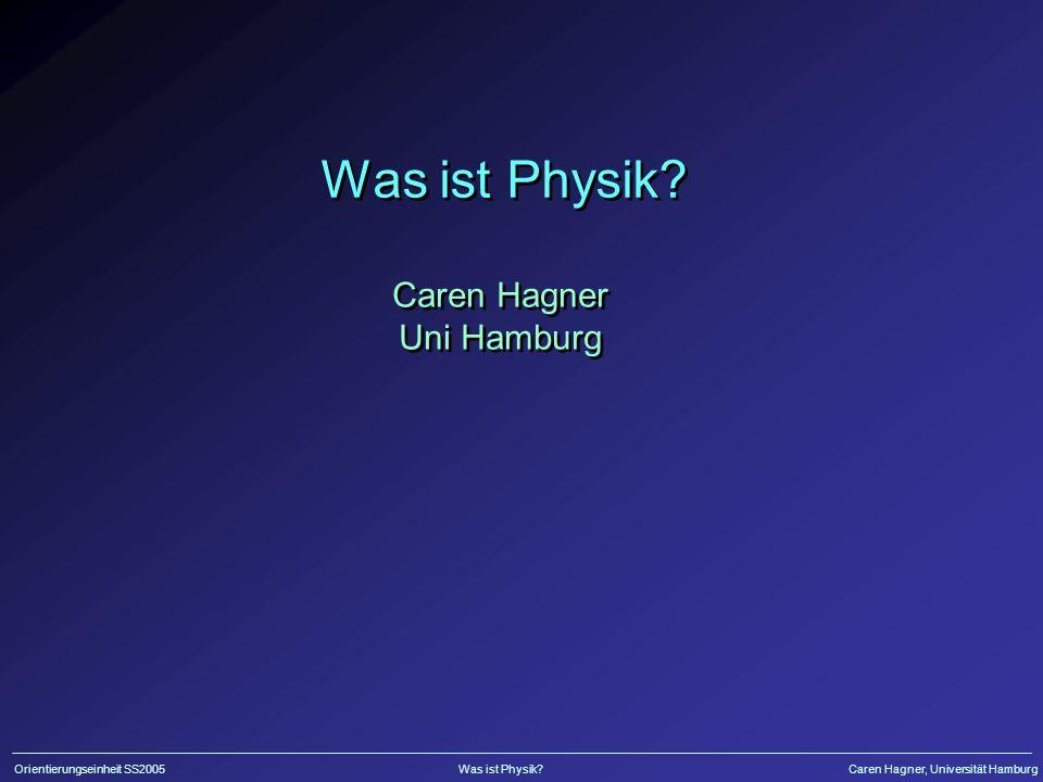 Orientierungseinheit SS2005Was ist Physik?Caren Hagner, Universität Hamburg Soll man Physik studieren.
