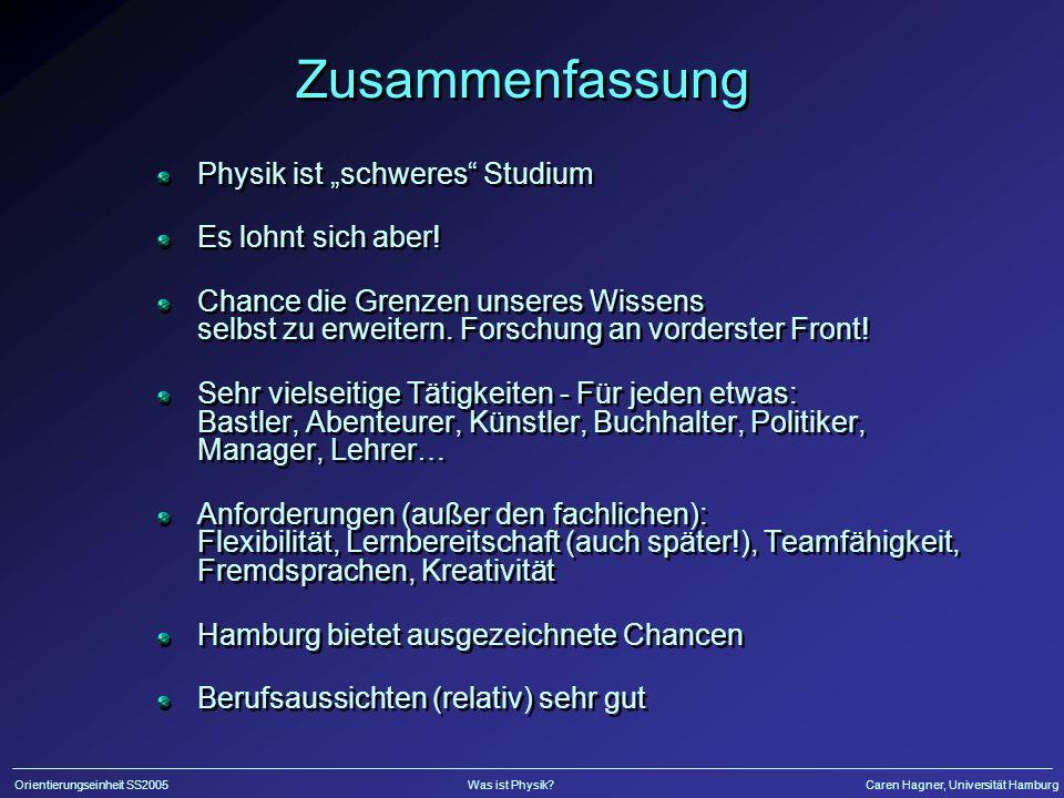 Orientierungseinheit SS2005Was ist Physik?Caren Hagner, Universität Hamburg Ende