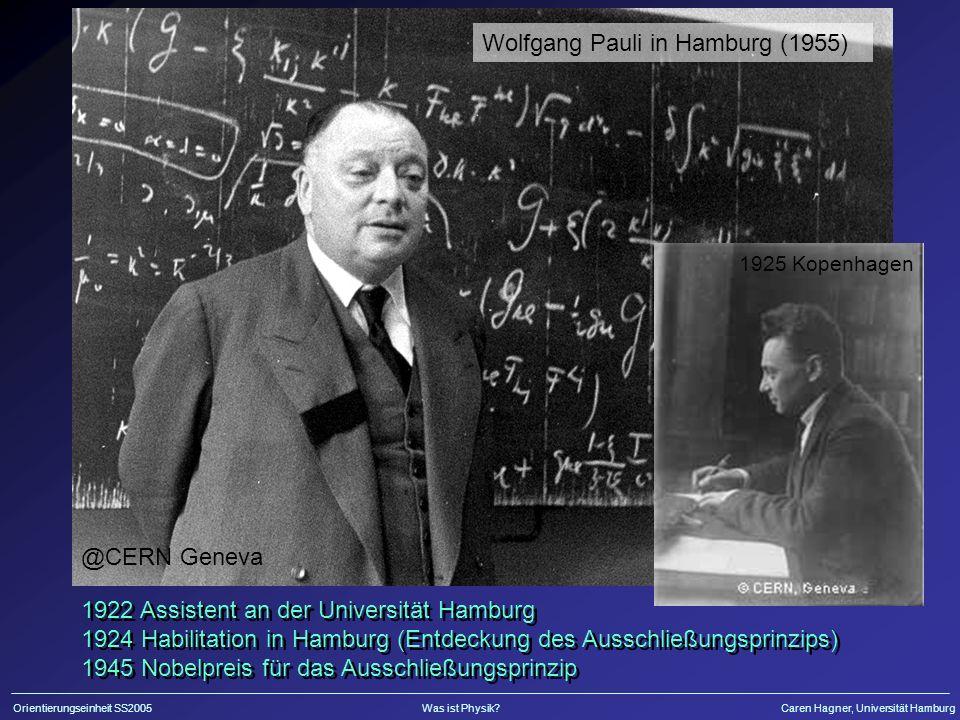 Orientierungseinheit SS2005Was ist Physik?Caren Hagner, Universität Hamburg Erster Nachweis des Neutrinos 1956 Neutrinos erzeugt durch Kernreaktor Nachweis durch Neutrinoeinfang, Szintillator, PMTs Nobelpreis für Reines 1995 Neutrinos erzeugt durch Kernreaktor Nachweis durch Neutrinoeinfang, Szintillator, PMTs Nobelpreis für Reines 1995 Cowan und Reines F.