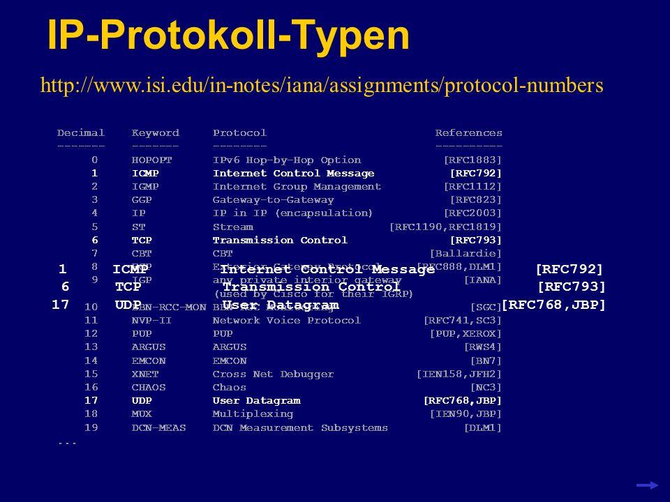 ICMP, TCP und UDP ICMP wird für die Übermittlung von Fehlermeldungen benötigt.