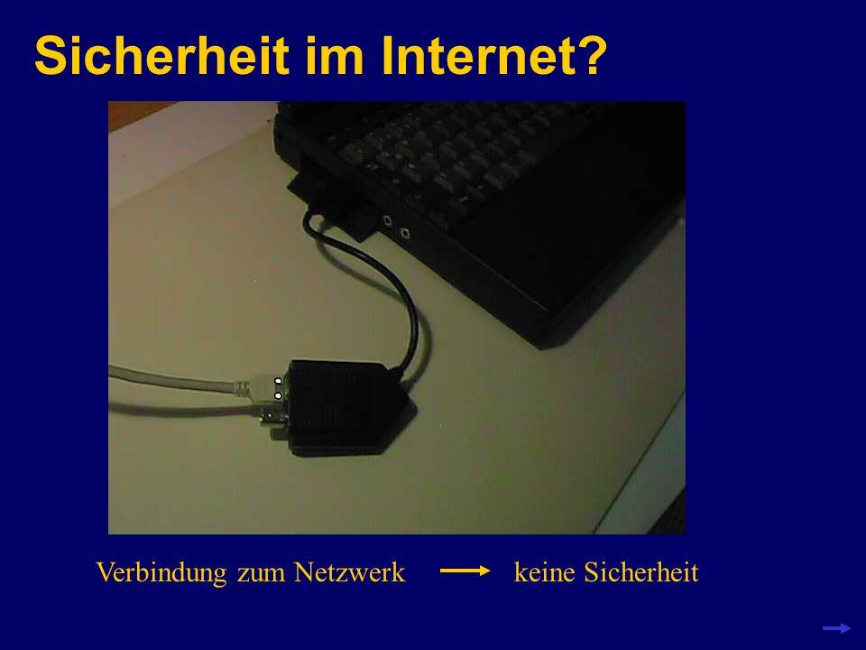 Sicherheit im Internet? keine Verbindung zum NetzwerkSicherheit