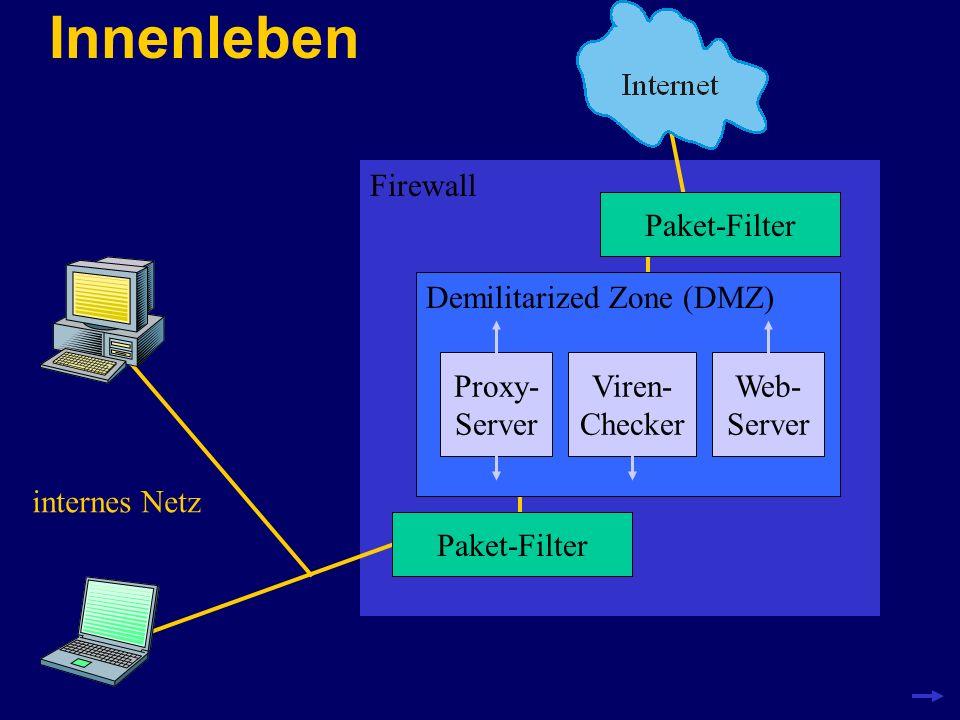 Paket-Filter IP-Pakete können anhand von Merkmalen wie Absender- und Empfänger-Adresse oder Diensten (Port-Nummern) gefiltert werden IP-Pakete lassen sich auch aufgrund ihrer Zugehörigkeit zu einer IP-Verbindung filtern (stateful inspection – Erfindung des Firewall-Marktführers Checkpoint http://www.checkpoint.com/products/firewall-1/index.html )http://www.checkpoint.com/products/firewall-1/index.html Filtern lässt sich mit drei unterschiedliche Aktionen beschreiben: ACCEPT – das Paket wird weitergeleitet DROP – das Paket wird weggeworfen REJECT – das Paket wird nicht weitergeleitet, statt- dessen wird eine Fehlermeldung an den Absender zurückgeschickt