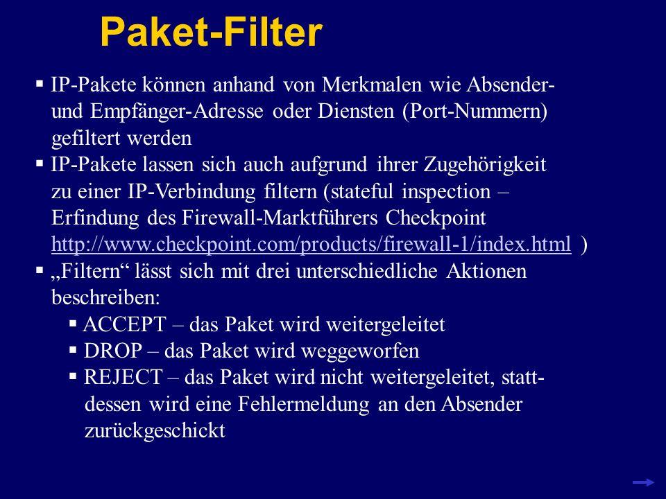 Ethernet-Pakete 60 – 1514 Bytes Header AbsenderEmpfängerTyp 6 Bytes +6 Bytes + 2 Bytes = 14 Bytes Beispiel: 00:10:B5:5E:D9:A6 jede Netzwerkkarte hat eine eindeutige Nummer die Pakete sind zusätzlich mit einer Prüfsumme versehen (Frame Check Sequence, FCS) FCS 2 Bytes kaputte Pakete werden nicht repariert sondern ignoriert