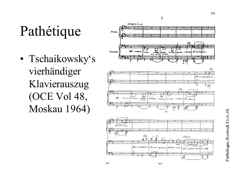 Pathétique, Rostock 16.6..01 Pathétique Materialien: Indizes, Register, Briefe, etc.