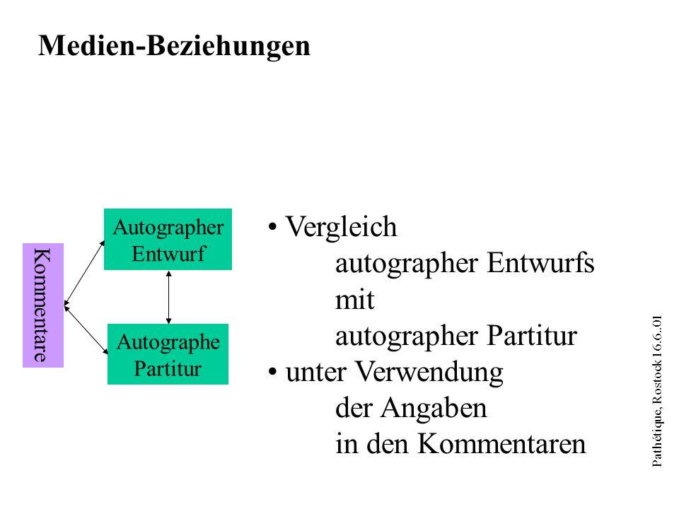 Pathétique, Rostock 16.6..01 Partitur Klavier- Auszug Autographer Entwurf Autographe Partitur Medien-Beziehungen Werkentstehung Verhältnis Symphonie/Klavierauszug (Korrepetitoren)