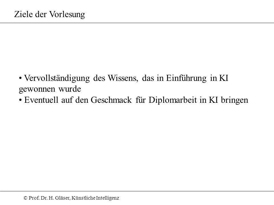 © Prof.Dr. H. Gläser, Künstliche Intelligenz Themen z.T.