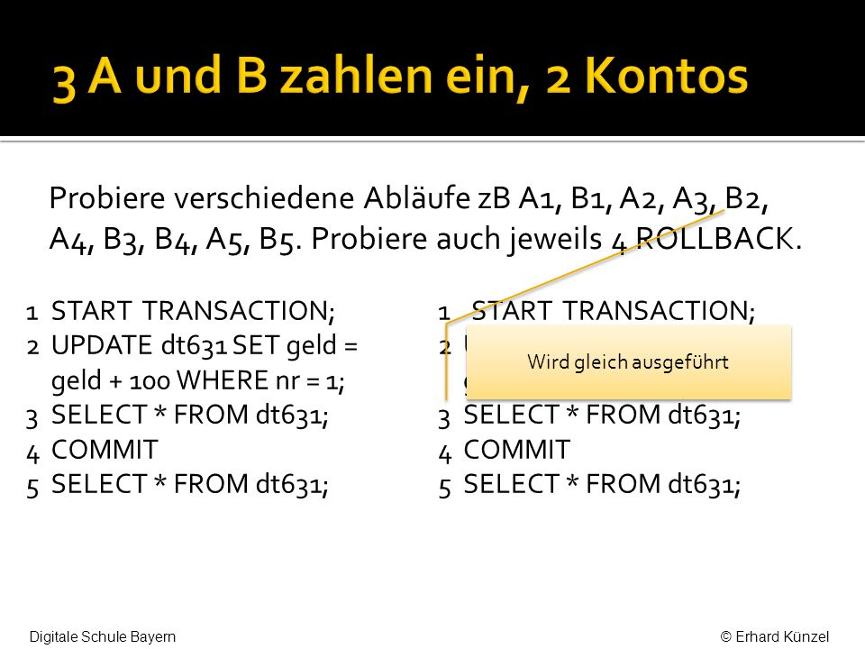 Die Transaktionen sorgen dafür, dass die Handlungen von A für B atomar, d.h.