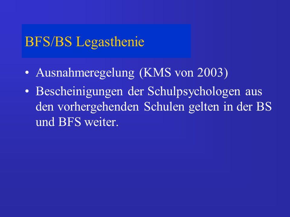 BFS/BS Lese-Rechtschreib-Schwäche Berücksichtigung nur bis einschließlich 10.
