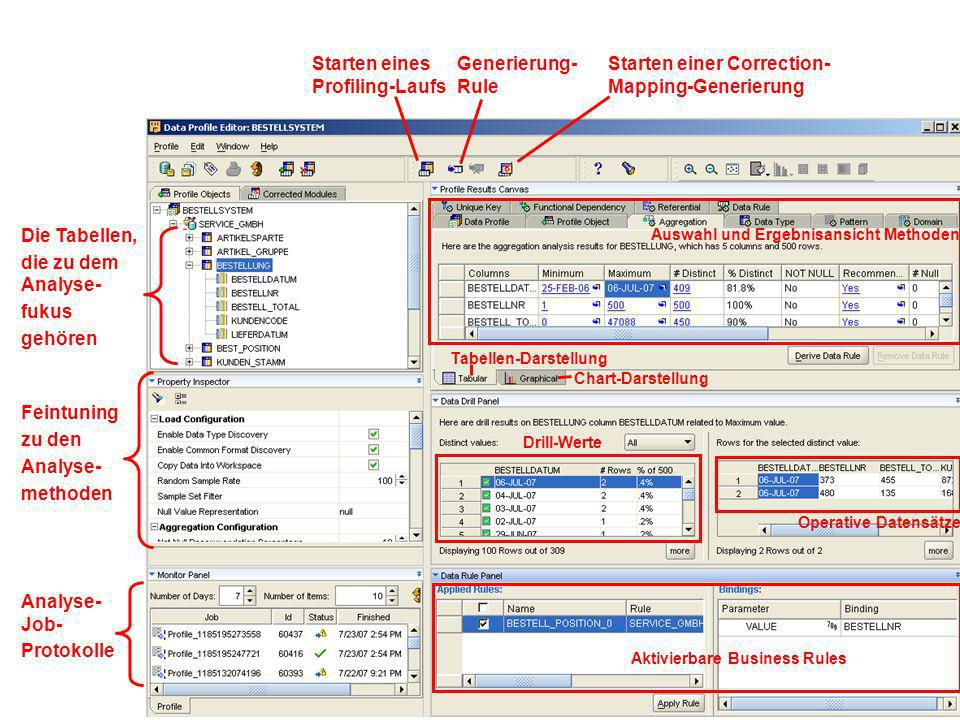 Source Stage Profiling Stage SAP R/3 SAP Integrator non Oracle Gateway / ODBC / FTP Oracle 9i / 10g / 11g DB2, SQL Server Informix, Teradata LDAP Meta Daten Repository Direct Path DBLink Transportable Modules DBMS_LDAP Siebel CRM Oracle eBusiness Text / XML Analyse Datenbank Analyseumgebung