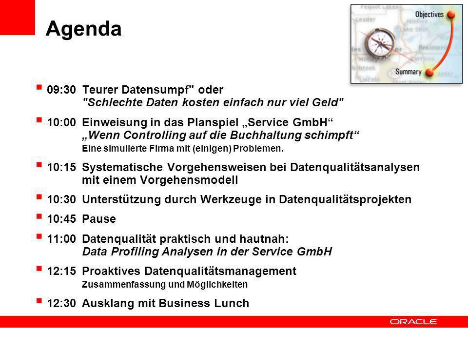 Agenda 09:30 Teurer Datensumpf oder Schlechte Daten kosten einfach nur viel Geld 10:00Einweisung in das Planspiel Service GmbH Wenn Controlling auf die Buchhaltung schimpft Eine simulierte Firma mit (einigen) Problemen.
