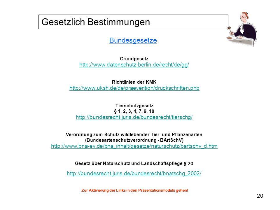 21 Landesgesetze Gesetz zum Schutz der Natur (2003) (Landesnaturschutzgesetz § 24) http://sh.juris.de/sh/NatSchG_SH_2003_rahmen.htm Schleswig-Holsteinisches Schulgesetz http://www.schulrecht-sh.de/schulgesetz/index.htm Zur Aktivierung der Links in den Präsentationsmoduls gehen.