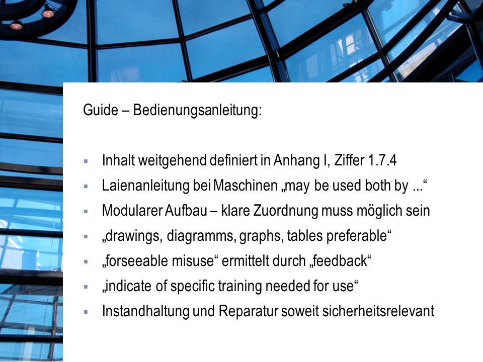 Guide – Einsatz von Medien: Section 1.7.4 does not specify the form of the instructions.