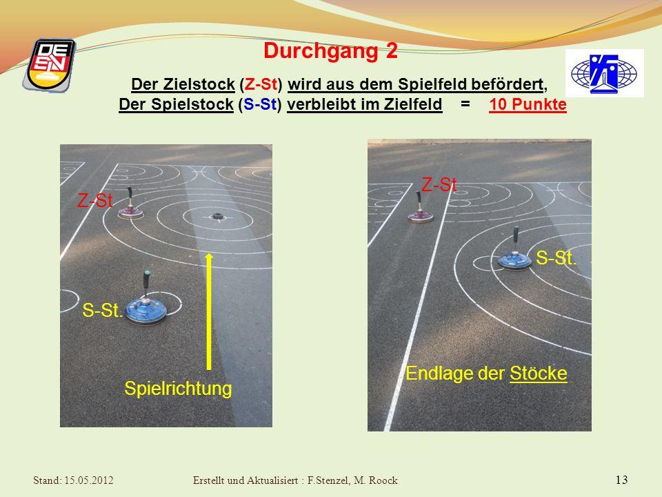 13 Durchgang 2 Der Zielstock (Z-St) wird aus dem Spielfeld befördert, Der Spielstock (S-St) verbleibt im Zielfeld = 10 Punkte Spielrichtung S-St.