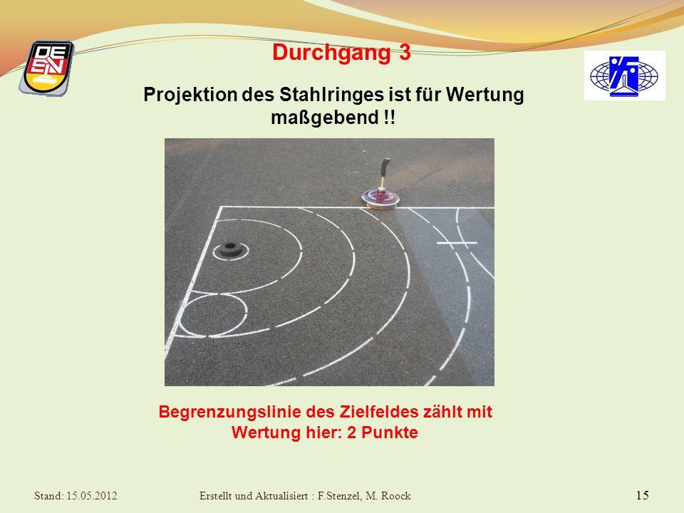 15 Durchgang 3 Begrenzungslinie des Zielfeldes zählt mit Wertung hier: 2 Punkte Projektion des Stahlringes ist für Wertung maßgebend !.