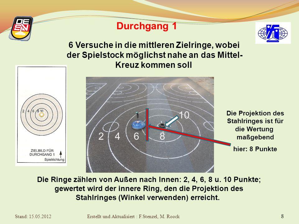 8 Durchgang 1 6 Versuche in die mittleren Zielringe, wobei der Spielstock möglichst nahe an das Mittel- Kreuz kommen soll Die Ringe zählen von Außen nach Innen: 2, 4, 6, 8 u.