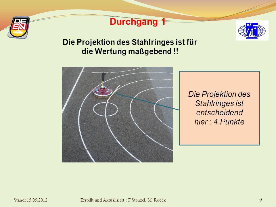 9 Durchgang 1 Die Projektion des Stahlringes ist für die Wertung maßgebend !.