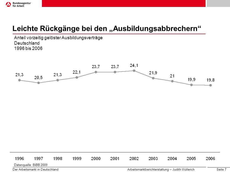 Seite 8 Der Arbeitsmarkt in Deutschland Arbeitsmarktberichterstattung – Judith Wüllerich Unterschiedliche Abbruchhäufigkeit nach Ausbildungsbereichen Anteil vorzeitig gelöster Ausbildungsverträge nach Kammern 1996 bis 2006 Datenquelle: BiBB 2009