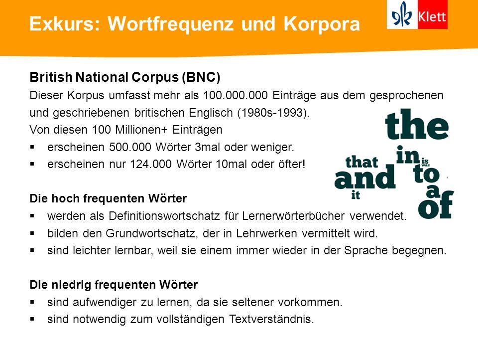 Exkurs: Wortfrequenz und Korpora Beispiele aus dem British National Corpus (BNC) Wörter mit der höchsten Frequenz: 1.