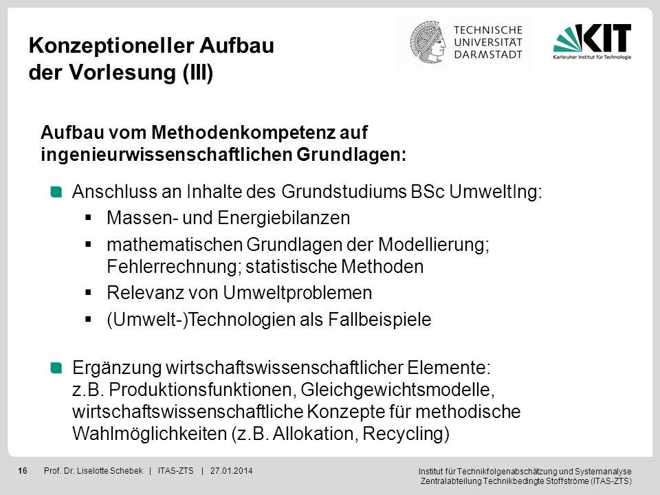 Institut für Technikfolgenabschätzung und Systemanalyse Zentralabteilung Technikbedingte Stoffströme (ITAS-ZTS) 17Prof.