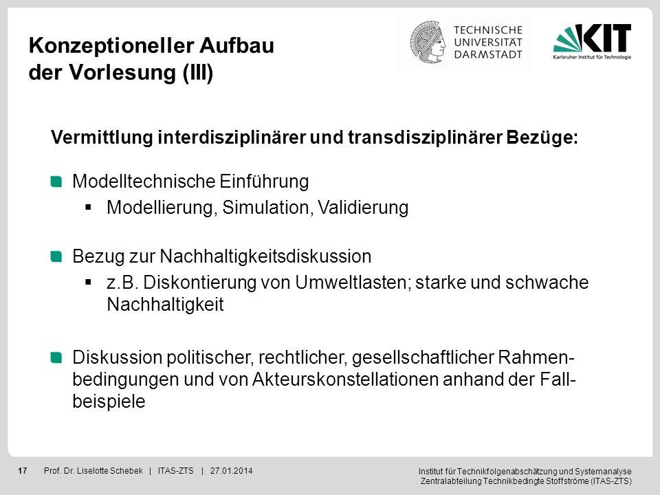 Institut für Technikfolgenabschätzung und Systemanalyse Zentralabteilung Technikbedingte Stoffströme (ITAS-ZTS) 18Prof.